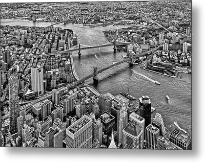 New York City Aerial Bridges Bw Metal Print by Susan Candelario