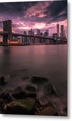 Metal Print featuring the photograph New York City Brooklyn Bridge Sunset by Ranjay Mitra