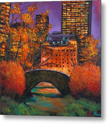 New York City Night Autumn Metal Print
