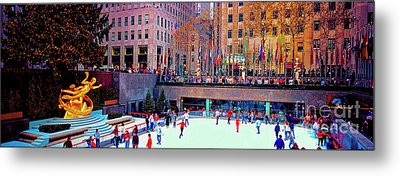 Metal Print featuring the photograph  New York City Rockefeller Center Ice Rink  by Tom Jelen
