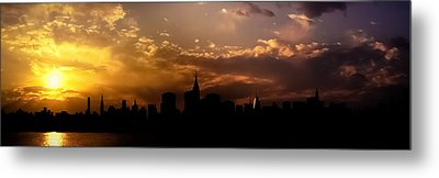 New York City Skyline At Sunset Panorama Metal Print by Vivienne Gucwa