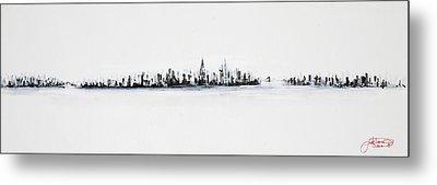 New York City Skyline Black And White Metal Print by Jack Diamond