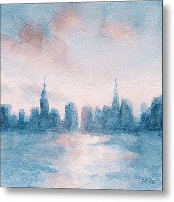 New York City Skyline Coral And Aqua Metal Print by Beverly Brown
