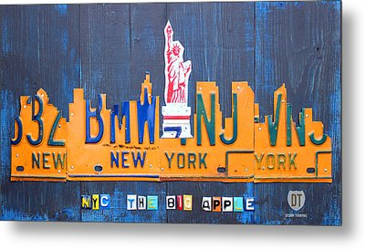 New York City Skyline License Plate Art Metal Print by Design Turnpike