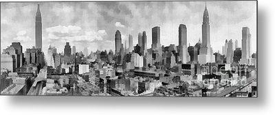 New York City Skyline Monochromatic Metal Print by Edward Fielding