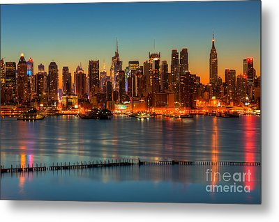 New York City Skyline Morning Twilight V Metal Print by Clarence Holmes