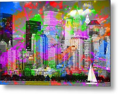 New York City Skyline Paint Splatters Pop Art Metal Print