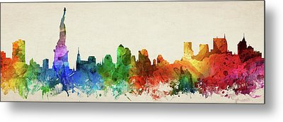 New York City Skyline Panorama Usnyny-pa03 Metal Print
