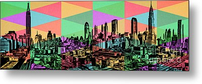 New York City Skyline Rainbow Metal Print