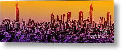 New York City Skyline Sunset Painting Metal Print