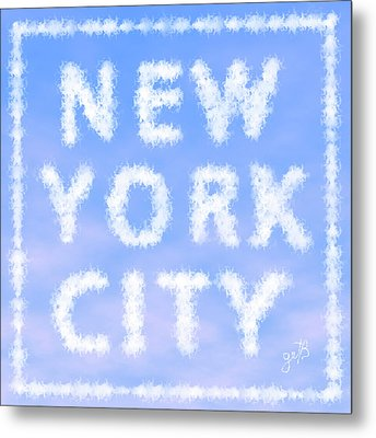 Metal Print featuring the painting New York City Skywriting Typography by Georgeta Blanaru