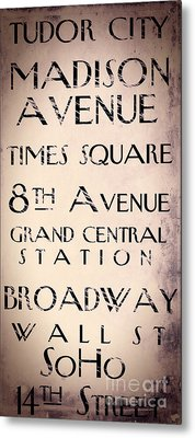 New York City Street Sign Metal Print by Mindy Sommers