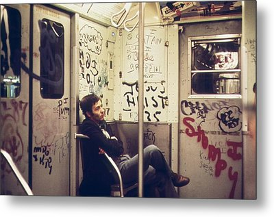 New York City Subway. A Lone Passenger Metal Print by Everett