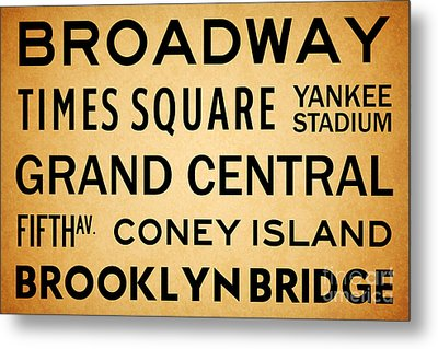 New York City Subway Sign Typography Art 1 Metal Print by Nishanth Gopinathan