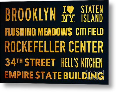 New York City Subway Sign Typography Art 14 Metal Print by Nishanth Gopinathan