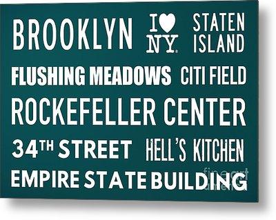 New York City Subway Sign Typography Art 15 Metal Print