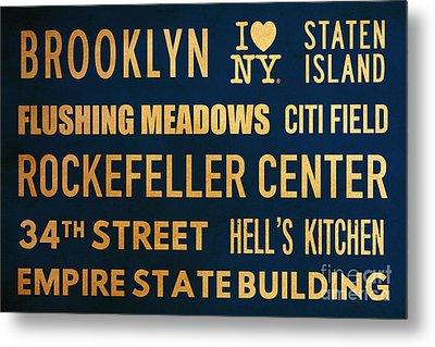 New York City Subway Sign Typography Art 16 Metal Print