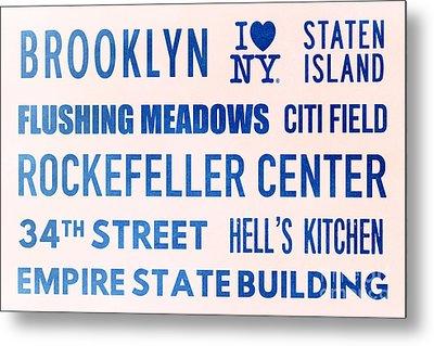 New York City Subway Sign Typography Art 17 Metal Print