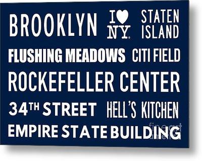 New York City Subway Sign Typography Art 18 Metal Print