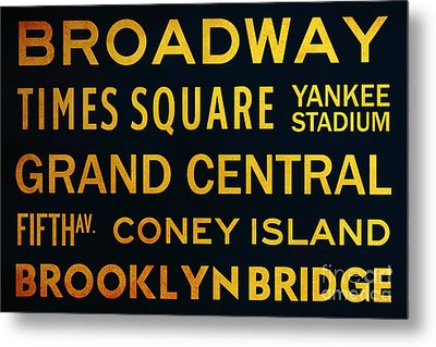 New York City Subway Sign Typography Art 2 Metal Print by Nishanth Gopinathan