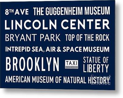 New York City Subway Sign Typography Art 24 Metal Print
