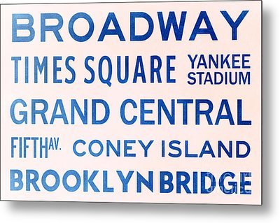 New York City Subway Sign Typography Art 5 Metal Print