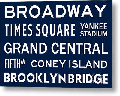New York City Subway Sign Typography Art 6 Metal Print