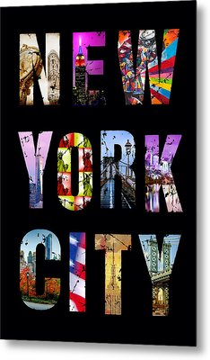 New York City Text 1 Metal Print