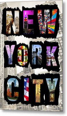 New York City Text 2 Metal Print by Az Jackson