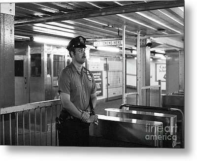 New York City Transit Police Officer 1978 Metal Print by The Harrington Collection