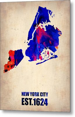 New York City Watercolor Map 1 Metal Print by Naxart Studio