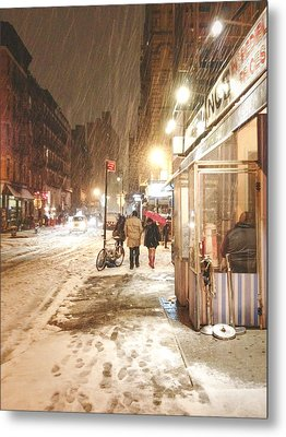 New York City - Winter Night - Snow In The City Metal Print