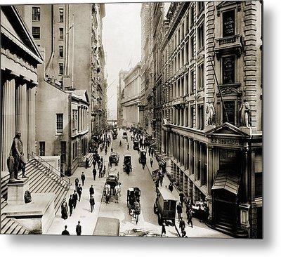New York Citys Wall Street, Looking Metal Print by Everett