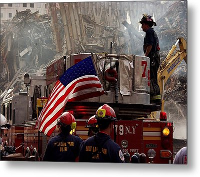 New York Firefighters And Salt Lake Metal Print