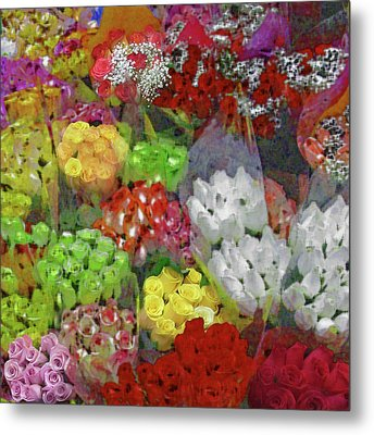 Metal Print featuring the photograph New York Flower Market by Michael Flood