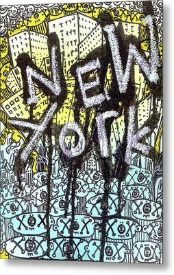 New York Graffiti Scene Metal Print by Robert Wolverton Jr