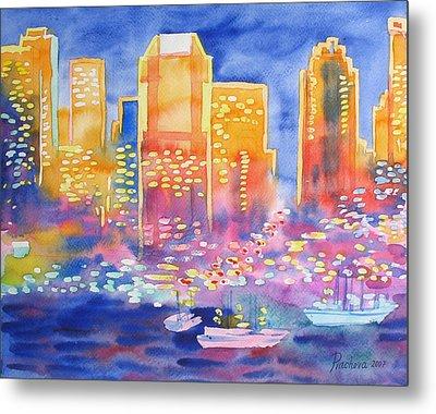 New York Great City Silhouettes.2007 Metal Print by Natalia Piacheva