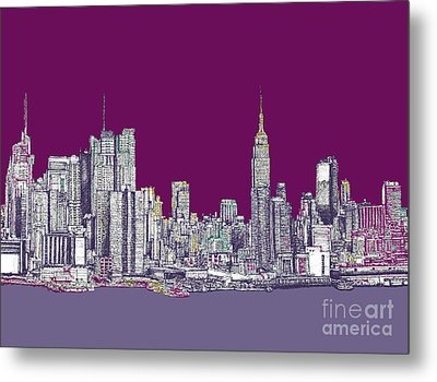 New York In Purple Metal Print