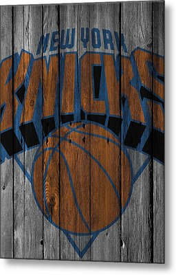 New York Knicks Wood Fence Metal Print by Joe Hamilton