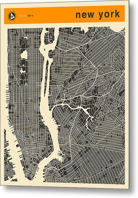 New York Map Metal Print by Jazzberry Blue