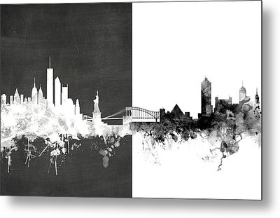 New York Memphis Skyline Mashup Metal Print by Michael Tompsett