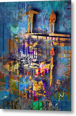 New York Men On Unfinished Skyscraper Blue Metal Print by Tony Rubino