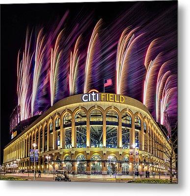 New York Mets Citi Field Fireworks Metal Print