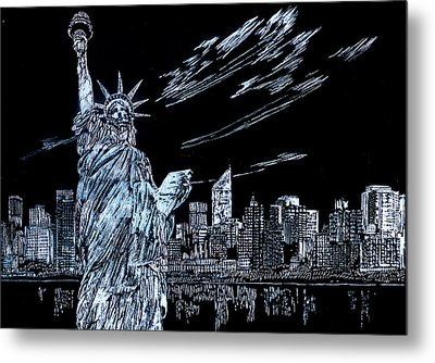 Metal Print featuring the drawing New York New York New York  by Saad Hasnain
