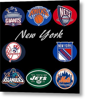 New York Professional Sport Teams Collage  Metal Print by Movie Poster Prints