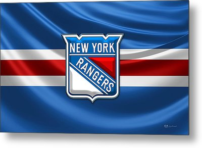 New York Rangers - 3d Badge Over Flag Metal Print by Serge Averbukh