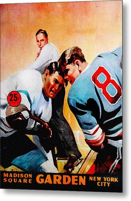 New York Rangers V Leafs Vintage Program Metal Print by Big 88 Artworks