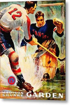 New York Rangers Vintage Three Poster Metal Print by Big 88 Artworks