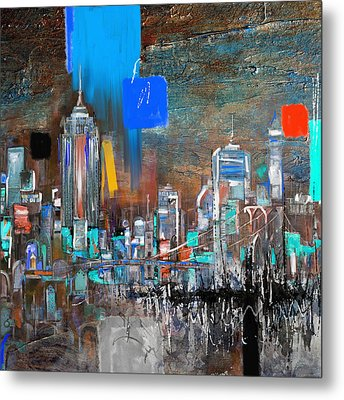 New York Skyline 198 3 Metal Print by Mawra Tahreem