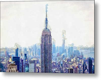 New York Skyline Art- Mixed Media Painting Metal Print by Wall Art Prints